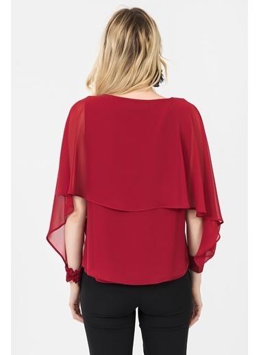 İroni Uzun Kollu Şifon Bluz Kırmızı